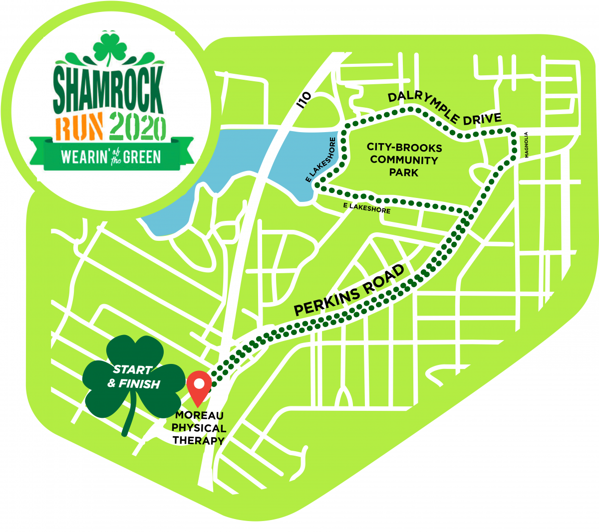 5K Shamrock Run Route Map